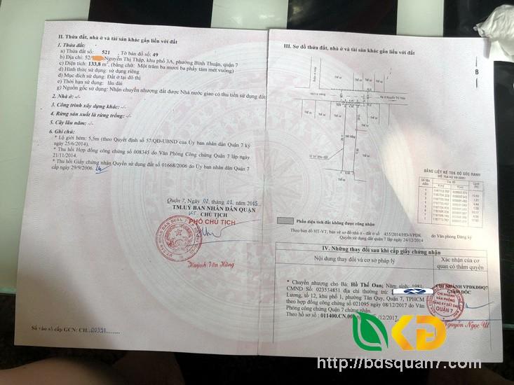 Bán lô đất hẻm 52 đường Nguyễn Thị Thập Quận 7.